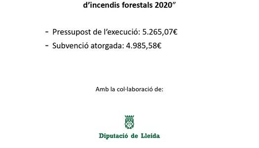 Arranjament de camins per la prevenció d'incendis forestals 2020
